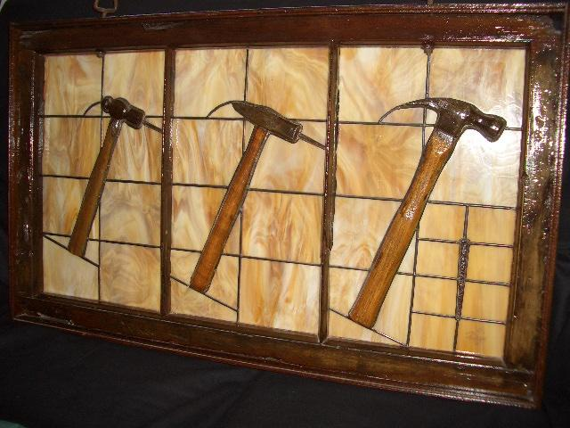 3 Hammers Stained Glass Art Piece