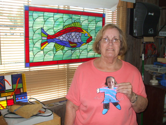 Flat Stanley in Cubbys Stained Glass Studio.JPG
